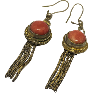 Vintage 800 Gilt Silver and Coral Earrings