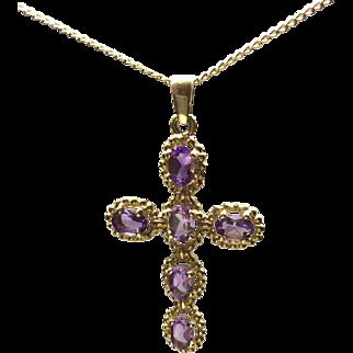 Vintage Amethyst and 9 karat Gold Cross Pendant