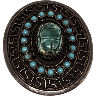 Egyptian Revival Turquoise and 1000 Silver Brooch Pendant