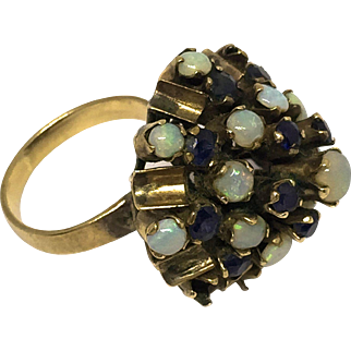 Gorgeous Victorian Gold Princess Cocktail- Harem Ring with Opal and Sapphire