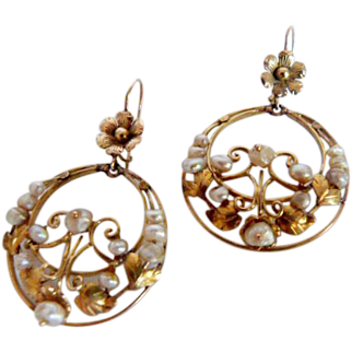 Antique Iberian 18k Gold and Natural Pearls Hoop Earrings