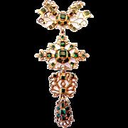 An Iberian Spanish Vermeil and Emerald Cut Glass Cross Pendant