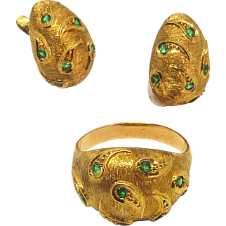 Vintage 18 k Gold and Emerald Earrings and Ring