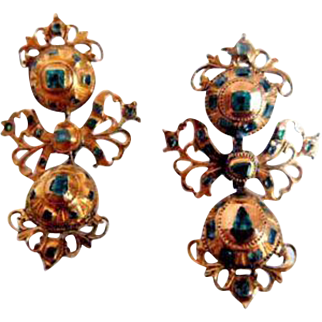 Wonderful Spanish Pendeloque Emerald Earrings