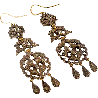 18 th Century Iberian Sterling Silver and 14 K Gold Diamond Earrings