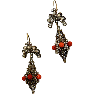 Antique 18th Century Iberian Gilded Filigree Silver Coral Earrings