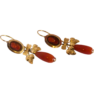 Antique  19th century 14k solid gold Red Coral Cameo  Earrings