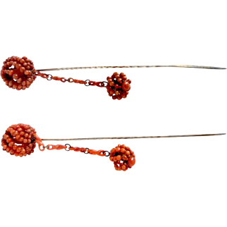 Antique Two Natural Coral Hat Pins