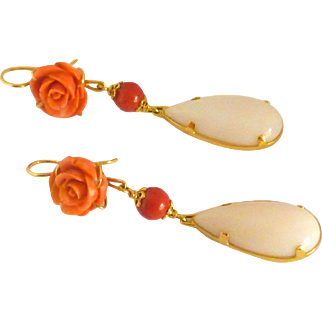 Vintage Coral  &  opal 18k  Yellow Gold Earrings