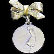 1920's Italian Ladies Golfing Bronze Pin