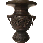 "Antique Meiji Period Japanese Bronze Vase 4.5"" tall Birds & Flowers 1880-1910"