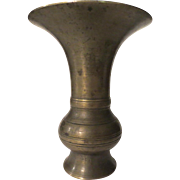 Antique Bronze or Brass Japanese or Chinese Gu Shaped Vase Signed