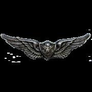 WW2 Air Crew Member Wings Pin 1/20 Silver Fill GI
