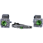 1960's Swank Cufflink and Tie Clip Set Shiny Green and Silver Tank Link & Nugget Style