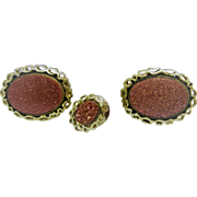 1960's Oval Goldstone Cufflinks and Tie Tack by ANSON