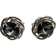 1960's DANTE Swirl Cufflinks with Grey Glass stones.
