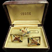 1960's SWANK Mallard Duck Cufflink & Tie Tack Set in Original Case. Hand Painted