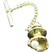 10k Gold and Pearl Catcher's Mitt Baseball Glove Tie Tack