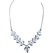 Lovely and Delicate Sterling Silver and Rhinestone Necklace