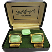 1960's Michelangelo Cufflink and Tie Tack in light Green and Gold-tone