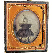 Framed 1850's Ambrotype/Daguerreotype photo of Baby Girl in High Chair Glass Image