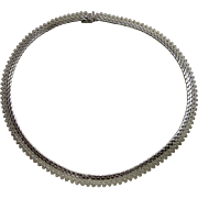 """1970's MONET Silver-tone Choker Style Flat Chain Necklace 17"""""""