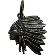 Vintage Native American Plains Indian Chief with Headdress Charm/Pendant