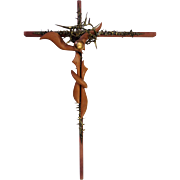 "Mid-century Brutalist Crucifix Sculpture of Jesus on the Cross Surrealist Wood and Metal 27.5"" x 20"""