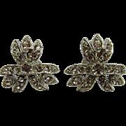 Lovely Floral Screw-back Rhinestone Earrings