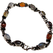 """Sterling Bracelet with Cabochons of Garnet, Amber and Moonstone 7"""""""