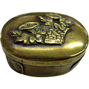 Meiji Period Antique Japanese Snuff Box Shakudo Pill Box with Floral Motif