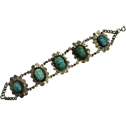 Fun Vintage Egyptian Revival Scarab Bracelet With Glazed Ceramic Blue Beetles, Made in Egypt