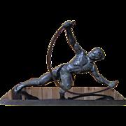 Bow Bender Male Deco Statue by Jean de Roncourt Spelter on Black Marble Base 1920's Era Original