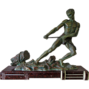 L'Effort Art Deco Statue of Man Pulling Log by Alexandre Ouline French Spelter and Marble Rare in Need of Repair