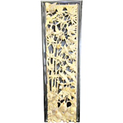 Antique Chinese Wood Carving of Birds in Bamboo Wall Art c.1900