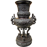 "Meiji Period Bronze Censer from Japan, Phoenix & Dragon, 20"" c.1900"