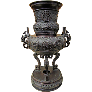 "Meiji Period Bronze Censer from Japan, Phoenix & Dragon, 20"" c.1900"