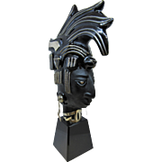 Amazing Mid-century Mexican Onyx and Sterling Silver Aztec Warrior Bust Statue