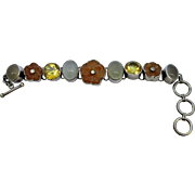 Lovely Sterling Bracelet by Starborn with Carved Carnelian Flowers, Moonstones and Citrine Stones