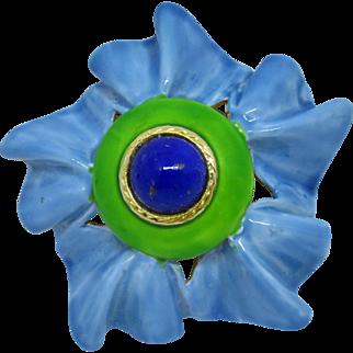 Eye Catching Vintage Bright Blue & Green Enamel and Lapis Lazuli Cabochon Brooch