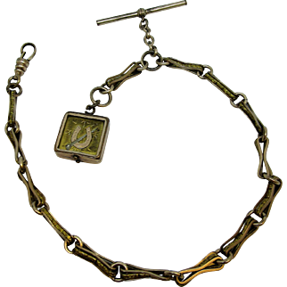 Victorian Era Watch Fob and Chain with Lucky Horseshoe Locket, W Co. SB Gold Filled