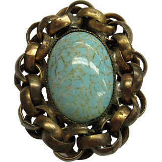 Vintage Turquoise Art Glass Egg in a Nest Shoe or Sweater Clip