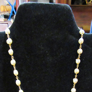 Lovely & Delicate 14k Gold & Pearl Necklace and Bracelet in Gold Wire Setting