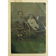 1870's Tintype of Young Siblings and Baby Carriage, Hand Tinted Photograph in Kodak Flexo Frame