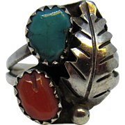 Vintage 1950's Sterling Silver Southwestern Ring with Turquoise and Coral Size 6