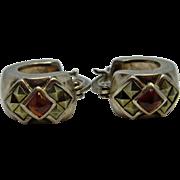 Lovely Pair of Vintage Sterling, Garnet & Marcasite Cuff Style Earrings