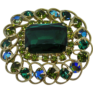 Lovely Costume Green Brooch with Aurora Borealis Beads