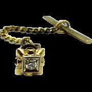 Edwardian Era Diamond and Gold Tie Tack Pin Screwback