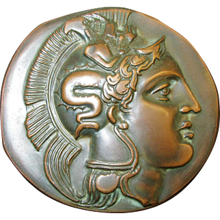 Vintage Bronze Medal Alexander the Great and Sacred Bull c.1967