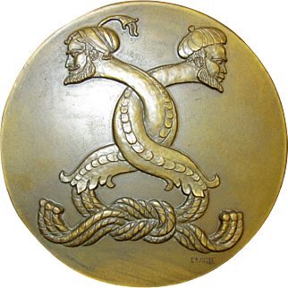 Unique Commemorative Bronze Medal with Entwined Snake Bodied Men, Lisbon European Expo 1983